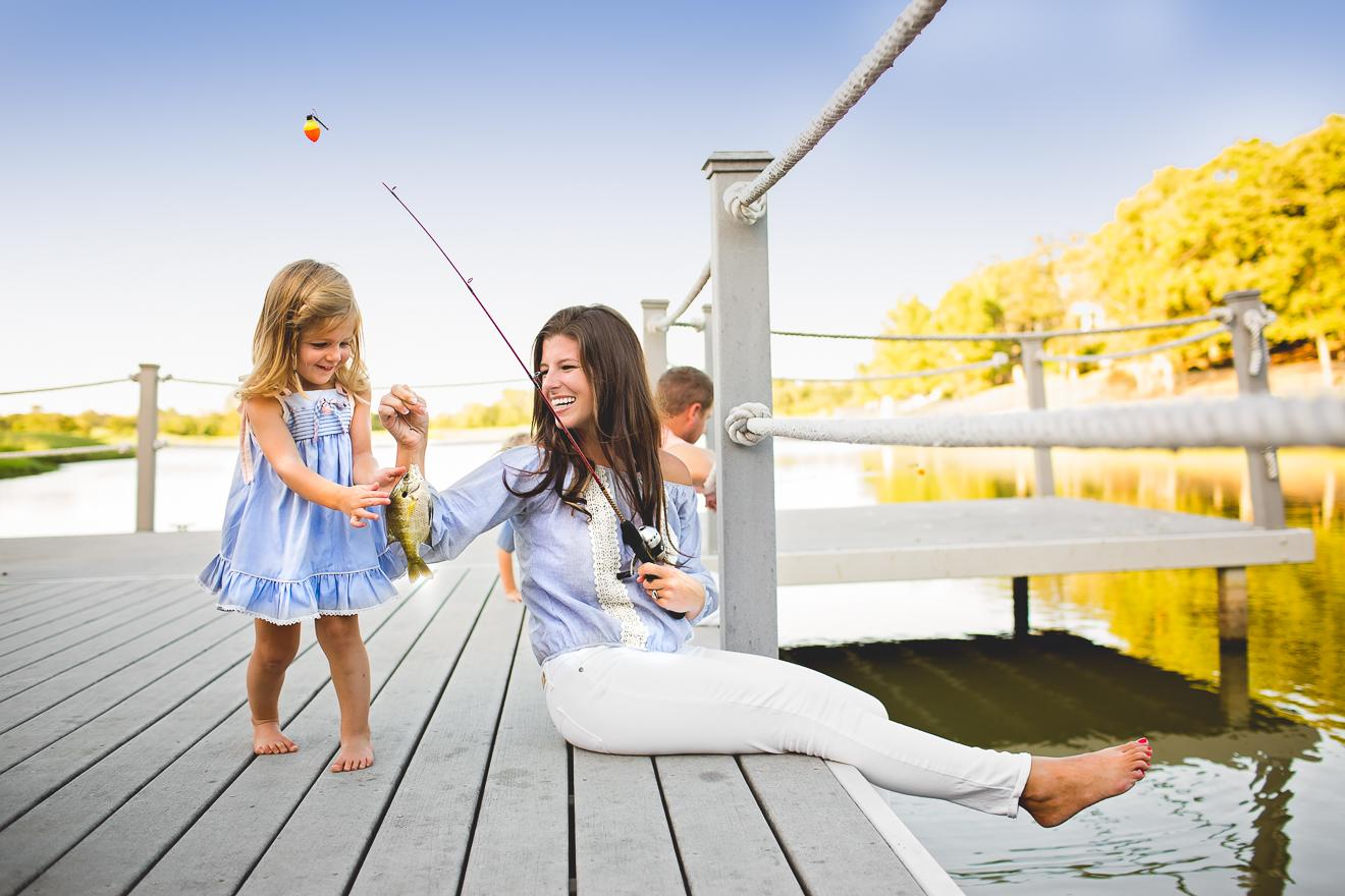 Mom and daughter fishing in Vaquero Westlake Texas by Sunny Mays Photography